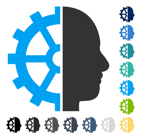mechanism of progress: Cyborg Gear icon. Vector illustration style is flat iconic symbol in some color versions. Illustration