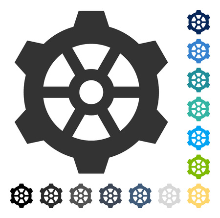 Gear icon. Vector illustration style is flat iconic symbol in some color versions.