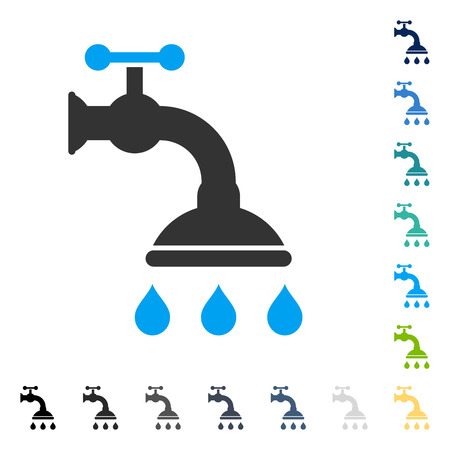 Shower Tap icon. Vector illustration style is flat iconic symbol in some color versions.