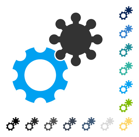 Gears icon. Vector illustration style is flat iconic symbol in some color versions.