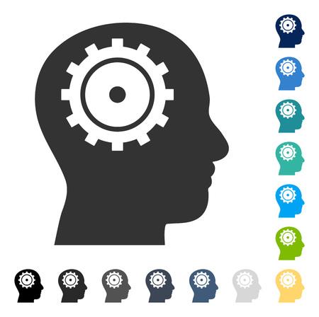 Icône de l & # 39 ; intellect style vector illustration est un style plat emblématique dans des versions de couleur Banque d'images - 82997141