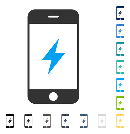 Smartphone Electricity icon. Vector illustration style is flat iconic symbol in some color versions. Illustration