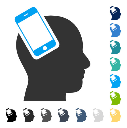 Smartphone Head Integration icon. Vector illustration style is flat iconic symbol in some color versions.