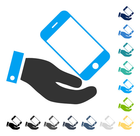 Smartphone Offer Hand icon. Vector illustration style is flat iconic symbol in some color versions.
