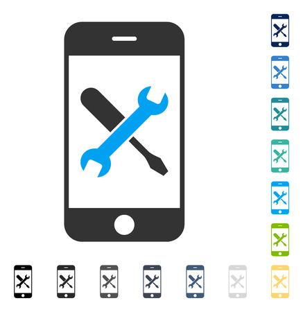 Smartphone Tools icon. Vector illustration style is flat iconic symbol in some color versions.
