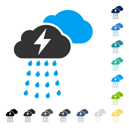 Thunderstorm Clouds icon. Vector illustration style is flat iconic symbol in some color versions.