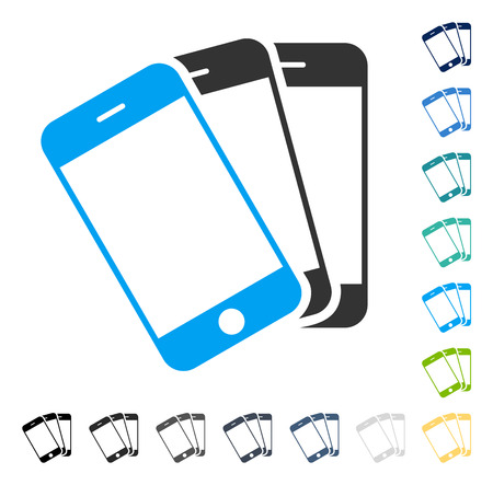 Smartphones icon. Vector illustration style is flat iconic symbol in some color versions.
