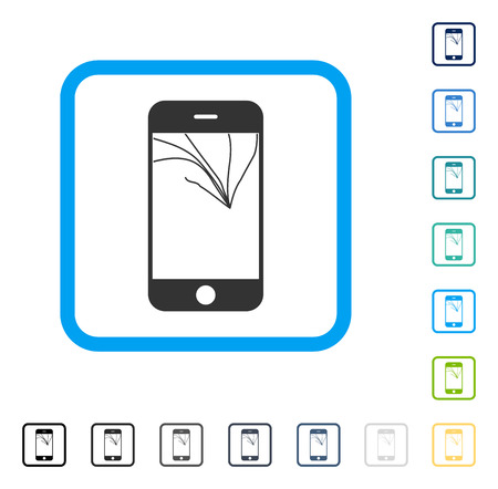 smashed: Broken Smartphone Screen icon inside rounded square frame. Vector illustration style is a flat iconic symbol in some color versions.