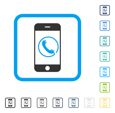 Phone icon inside rounded square frame. Vector illustration style is a flat iconic symbol in some color versions.