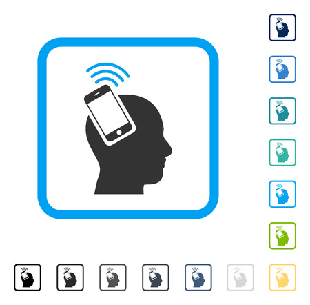 Head Smartphone Plugin Ring icon inside rounded square frame. Vector illustration style is a flat iconic symbol in some color versions.