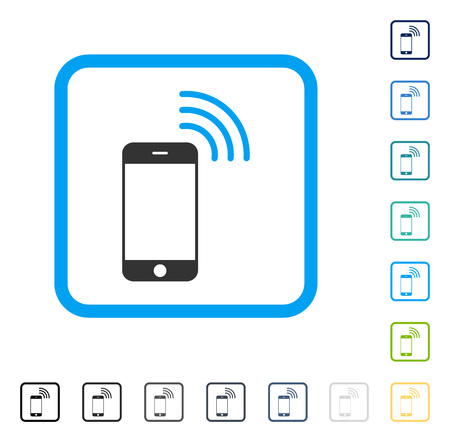 telephony: Smartphone Call icon inside rounded rectangle frame. Vector illustration style is a flat iconic symbol in some color versions.