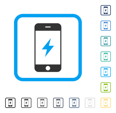 Smartphone Electricity icon inside rounded square frame. Vector illustration style is a flat iconic symbol in some color versions. Illustration
