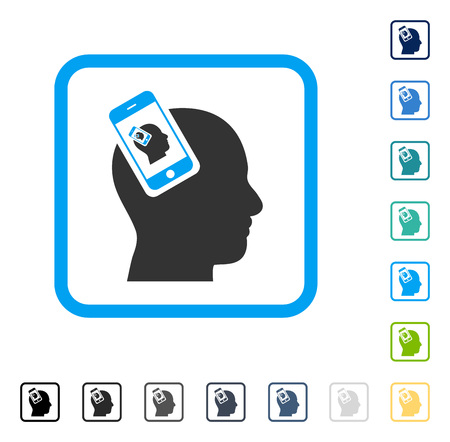 Smartphone Head Plugin Recursion icon inside rounded square frame. Vector illustration style is a flat iconic symbol in some color versions.