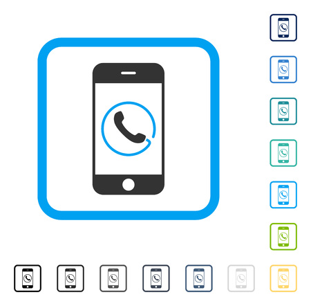 touchpad: Smartphone Phone icon inside rounded rectangle frame. Vector illustration style is a flat iconic symbol in some color versions.