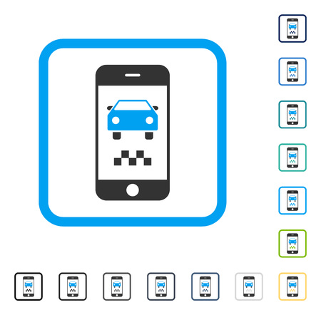 touchpad: Smartphone Taxi Car icon inside rounded square frame. Vector illustration style is a flat iconic symbol in some color versions.