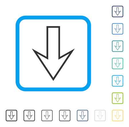 Arrow Down icon inside rounded rectangle frame. Vector illustration style is a flat iconic symbol in some color versions. Illustration