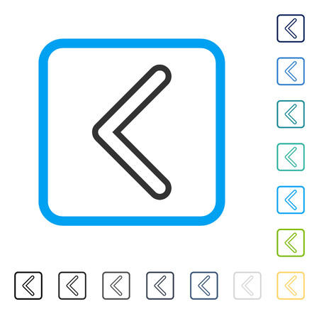 Arrowhead Left icon inside rounded rectangle frame. Vector illustration style is a flat iconic symbol in some color versions. Illustration