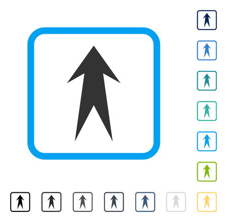 Arrow Up icon inside rounded square frame. Vector illustration style is a flat iconic symbol in some color versions.