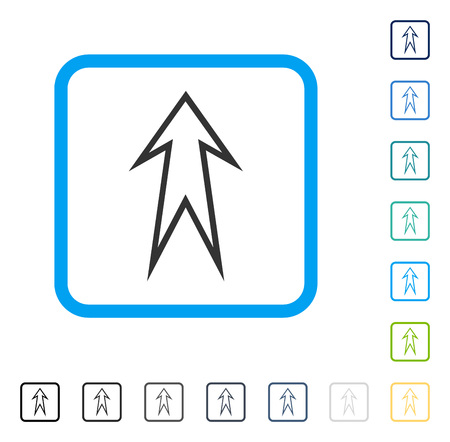 penetrating: Arrow Up icon inside rounded rectangle frame. Vector illustration style is a flat iconic symbol in some color versions. Illustration