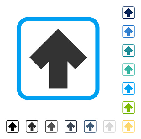 Arrow Up icon inside rounded rectangle frame. Vector illustration style is a flat iconic symbol in some color versions. Illustration