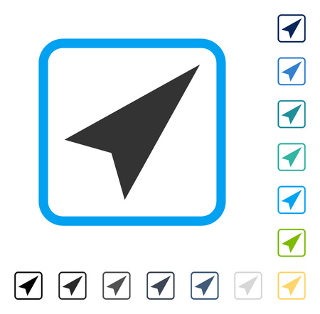 penetrating: Arrowhead Right-Up icon inside rounded rectangle frame. Vector illustration style is a flat iconic symbol in some color versions. Illustration