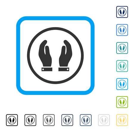 Care Hands icon inside rounded rectangle frame. Vector illustration style is a flat iconic symbol in some color versions. Illustration