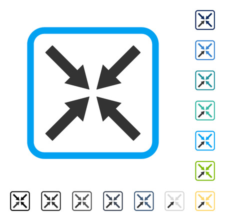 Center Arrows icon inside rounded rectangle frame. Vector illustration style is a flat iconic symbol in some color versions. Illustration