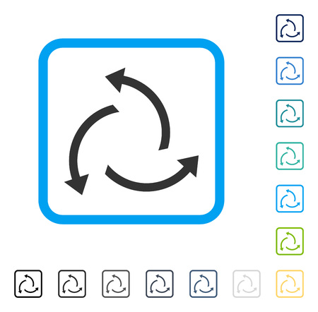 Centrifugal Arrows icon inside rounded rectangle frame. Vector illustration style is a flat iconic symbol in some color versions.