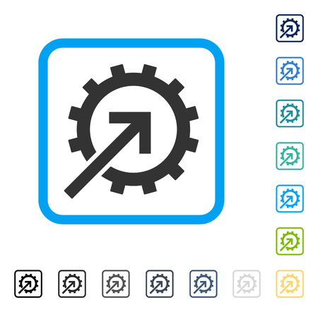 setup: Cog Integration icon inside rounded rectangle frame. Vector illustration style is a flat iconic symbol in some color versions.