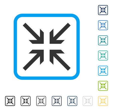 shrink: Collide Arrows icon inside rounded rectangle frame. Vector illustration style is a flat iconic symbol in some color versions.