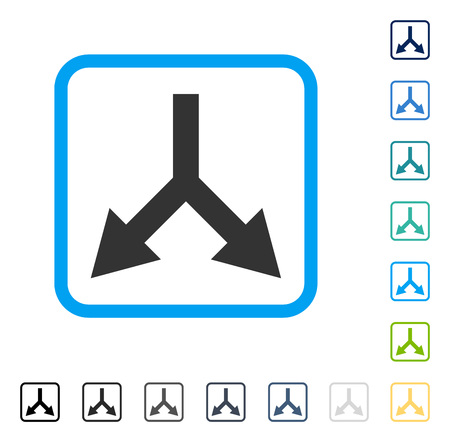 double cross: Bifurcation Arrow Down icon inside rounded square frame. Vector illustration style is a flat iconic symbol in some color versions.