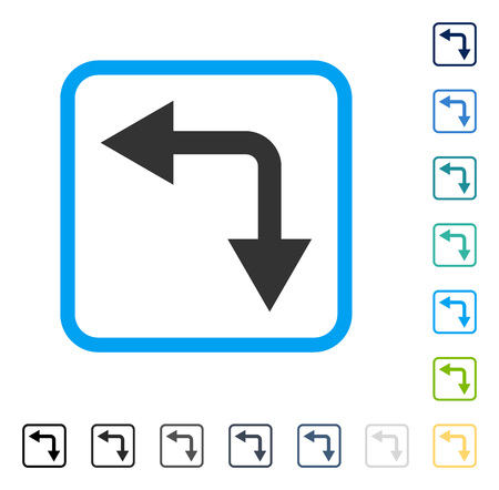 Bifurcation Arrow Left Down icon inside rounded rectangle frame. Vector illustration style is a flat iconic symbol in some color versions. Illustration