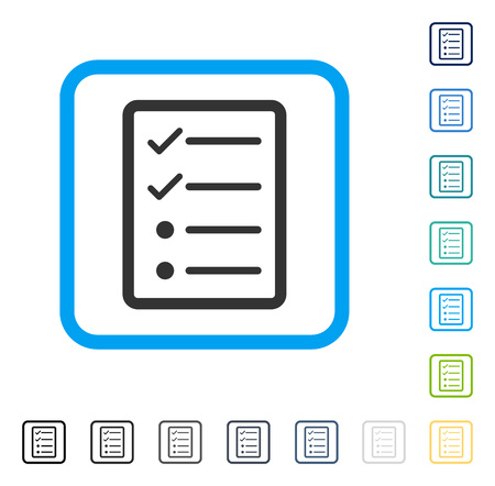 checklist: Checklist Page icon inside rounded square frame. Vector illustration style is a flat iconic symbol in some color versions.