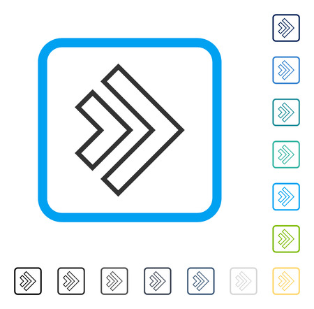 Direction Right icon inside rounded square frame. Vector illustration style is a flat iconic symbol in some color versions.