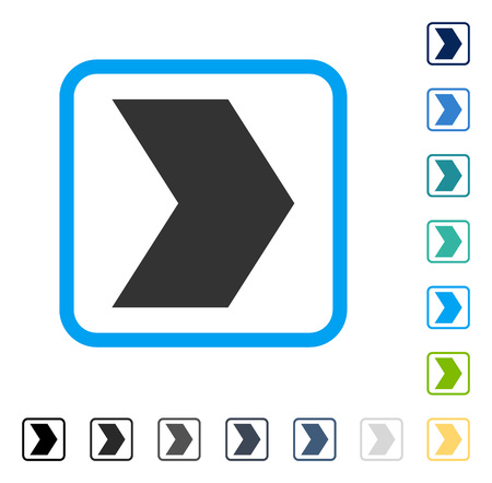 Direction Right icon inside rounded rectangle frame. Vector illustration style is a flat iconic symbol in some color versions.