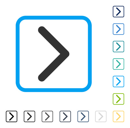 penetrating: Direction Right icon inside rounded rectangle frame. Vector illustration style is a flat iconic symbol in some color versions.