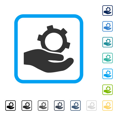 setup: Engineering Service icon inside rounded square frame. Vector illustration style is a flat iconic symbol in some color versions.