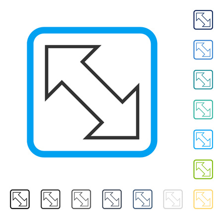 parallels: Exchange Diagonal icon inside rounded square frame. Vector illustration style is a flat iconic symbol in some color versions.