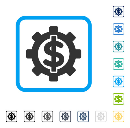 setup: Financial Options icon inside rounded square frame. Vector illustration style is a flat iconic symbol in some color versions. Illustration