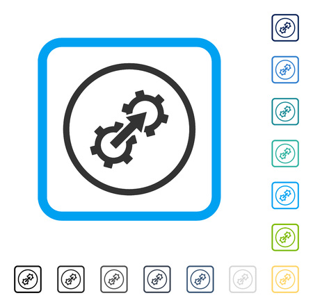 setup: Gear Integration icon inside rounded rectangle frame. Vector illustration style is a flat iconic symbol in some color versions.