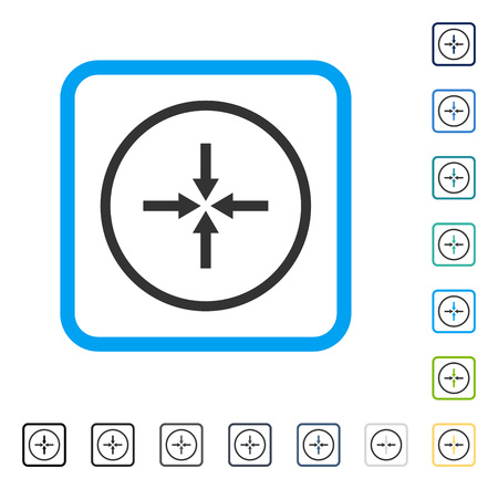 Impact Arrows icon inside rounded square frame. Vector illustration style is a flat iconic symbol in some color versions.