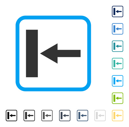 Move Left icon inside rounded rectangle frame. Vector illustration style is a flat iconic symbol in some color versions.
