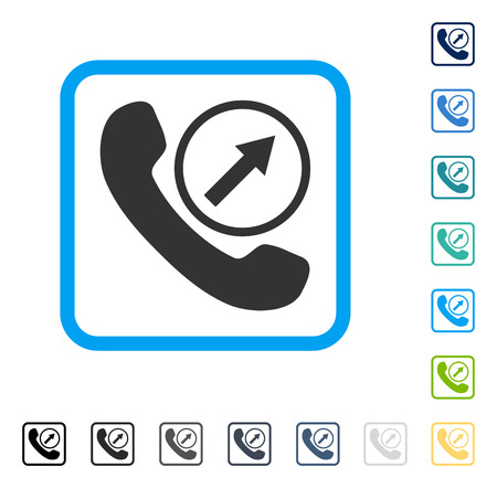 outgoing: Outgoing Call icon inside rounded square frame. Vector illustration style is a flat iconic symbol in some color versions. Illustration