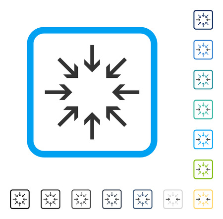 shrink: Pressure Arrows icon inside rounded square frame. Vector illustration style is a flat iconic symbol in some color versions.