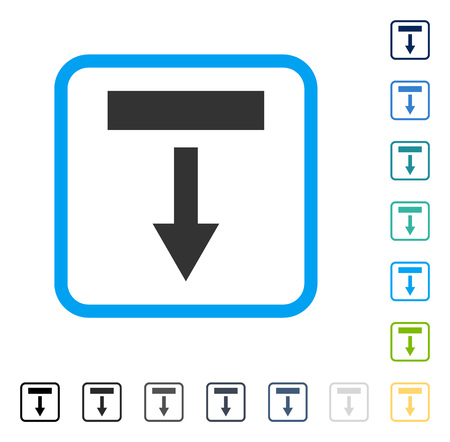 Pull Down icon inside rounded square frame. Vector illustration style is a flat iconic symbol in some color versions.