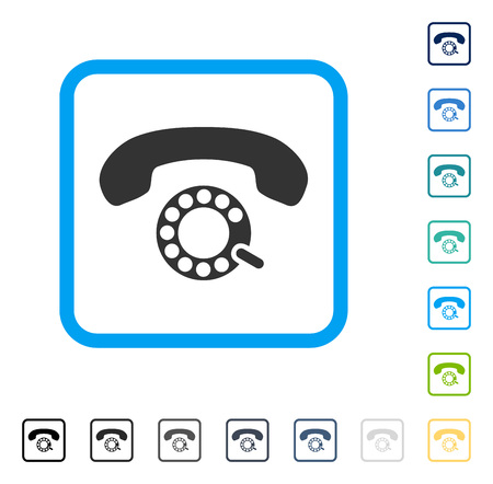 Pulse Dialing icon inside rounded rectangle frame. Vector illustration style is a flat iconic symbol in some color versions. Illusztráció