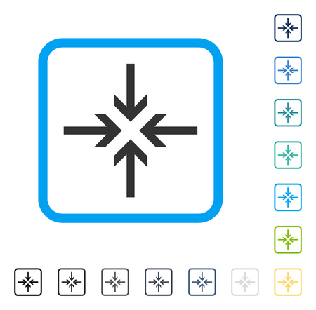 shrink: Reduce Arrows icon inside rounded square frame. Vector illustration style is a flat iconic symbol in some color versions.