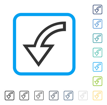 Rotate Left icon inside rounded square frame. Vector illustration style is a flat iconic symbol in some color versions.