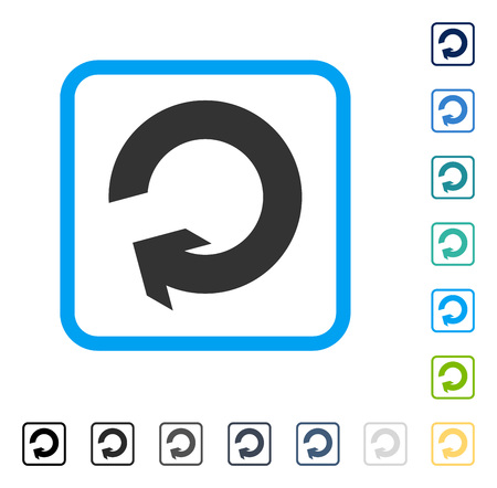 Rotate icon inside rounded square frame. Vector illustration style is a flat iconic symbol in some color versions. Illustration