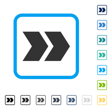 Shift Right icon inside rounded rectangle frame. Vector illustration style is a flat iconic symbol in some color versions.